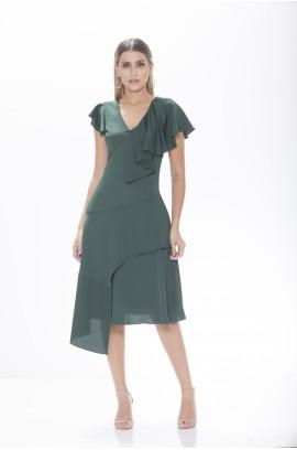 Vestido Midi Pontas e Babados - Verde
