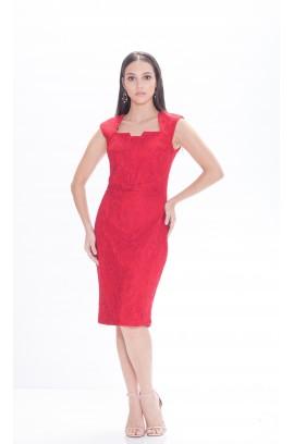 Vestido com Renda Gola Quadrada - Vermelho