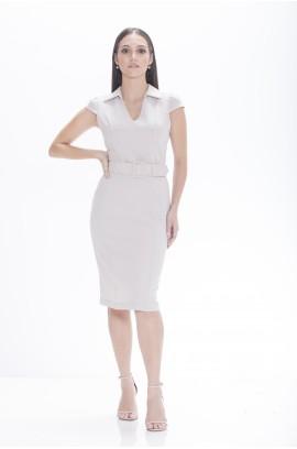 Vestido Gola com Pontas e Cinto - Cinza