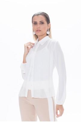 Camisa Recorte Plissado - Branco